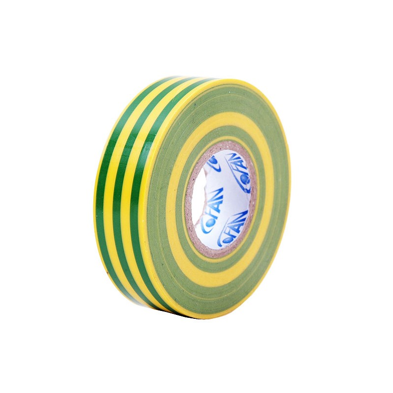 Cinta Aislante Amarillo/Verde de PVC 20m x 19mm