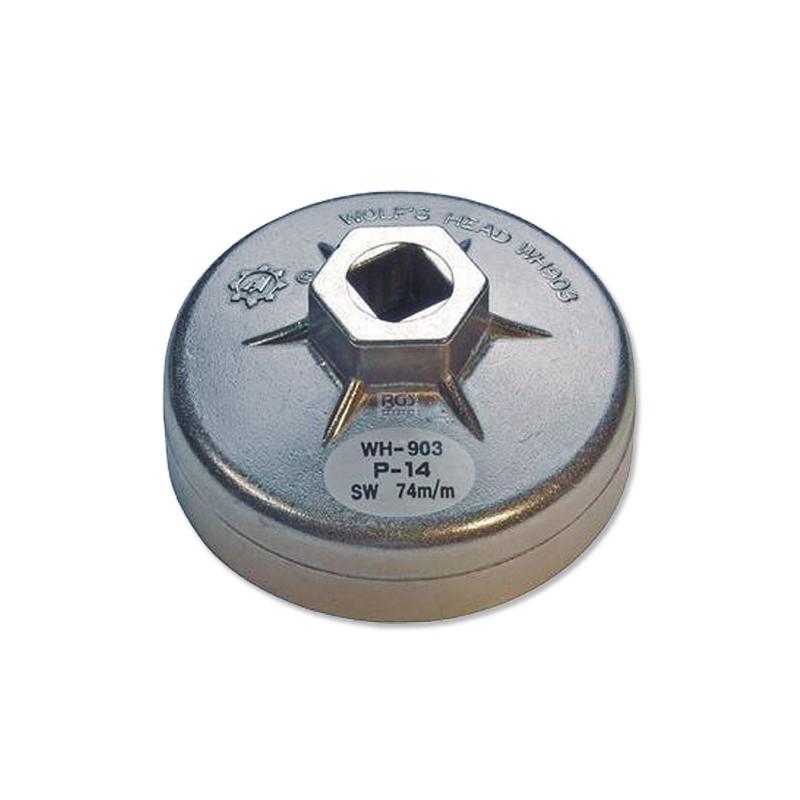 Cazoleta para filtros de aceite aluminio 74 mm x P14