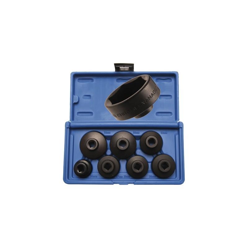 Juego 7 piezas de Cazoletas extractoras de filtros de aceite, perfil bajo