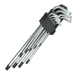 Juego 9 llaves Torx (T-Star), inviolables extra largas T10-50