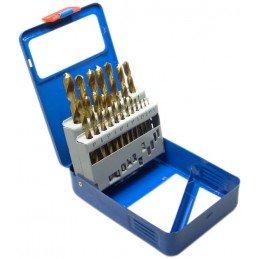 Juego 19 piezas de brocas titanio, HSS 1-10 mm