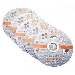Juego 5 piezas discos de corte de Acero INOX 115 x 1.0 x 22.2 mm