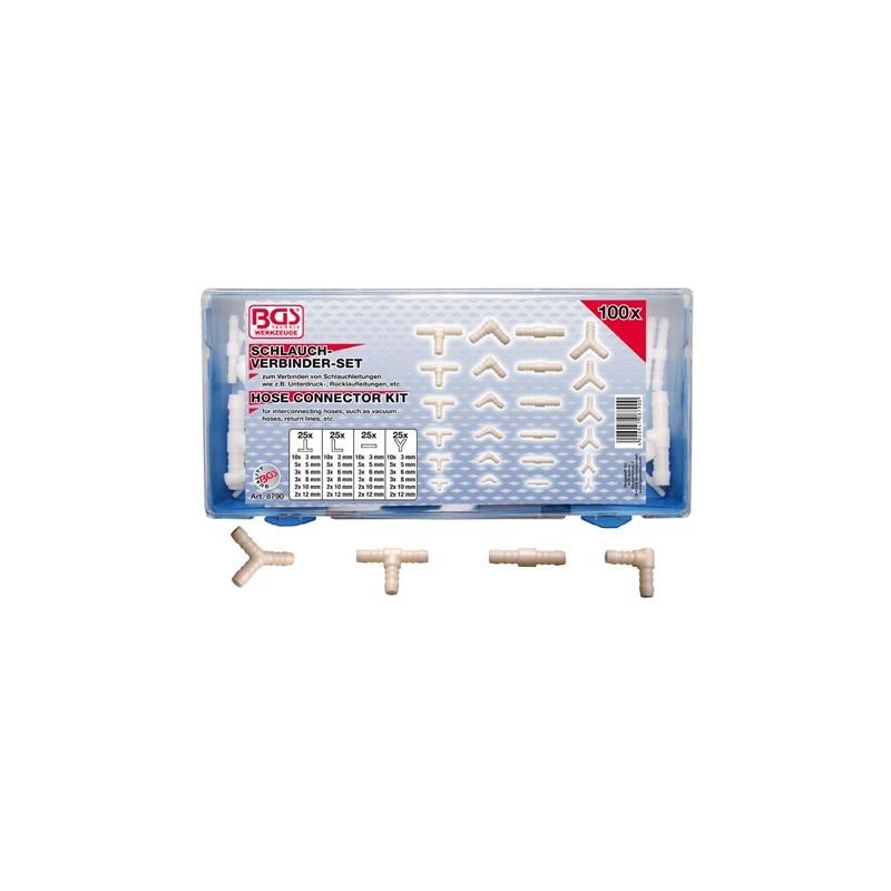 100 piezas de conectores para magueras de caucho y plástico