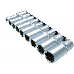 """Juego 9 piezas de llaves de vaso largas 1/2"""" 10-24 mm. BGS-2223"""