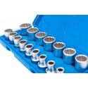 """Juego 16 llaves de vaso bi-hexagonal cortos 1/2"""" 8-24 mm"""