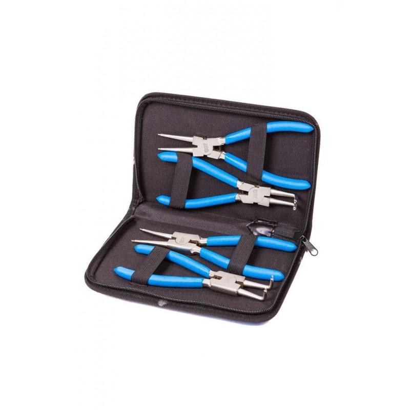Juego 4 piezas de alicates de puntas (circlip) 175 mm