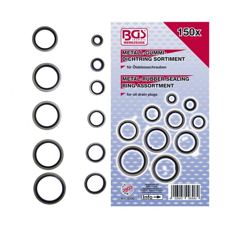 Surtido 150 Arandelas metal goma BGS-9306