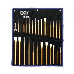 Juego 28 piezas de cinceles, botadores y granetes BGS-1650