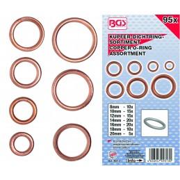 Anilhas de cobre 95 sortimento ocas para parafusos do invólucro