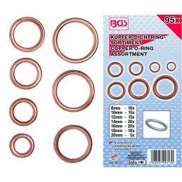 Surtido 95 arandelas de cobre huecas para tornillos de cárter BGS-9313