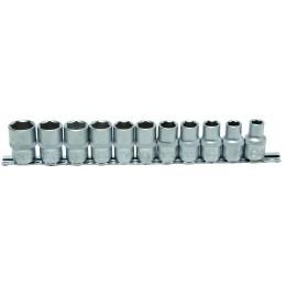 """Juego 11 vasos 1/2"""" cortos 6 caras de 10-21mm. BGS-9106"""