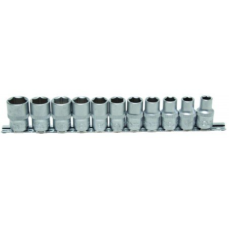 """Juego 11 vasos 1/2"""" cortos 6 caras de 10-21mm."""