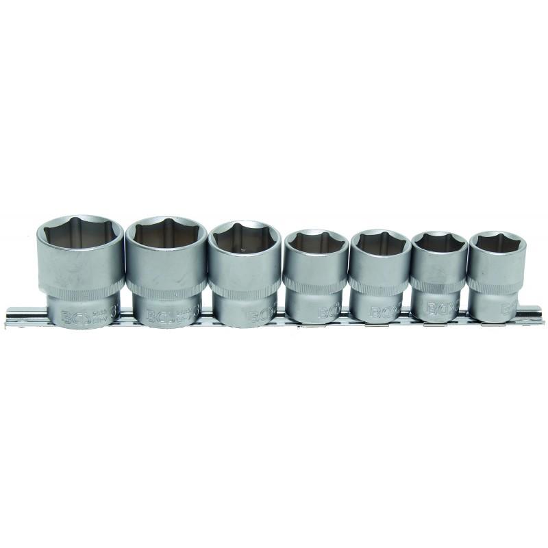"""Juego 7 vasos 1/2"""" cortos 6 caras de 20-32mm. BGS-9108"""