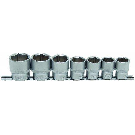 """Juego 7 vasos 1/2"""" cortos 6 caras de 20-32mm."""