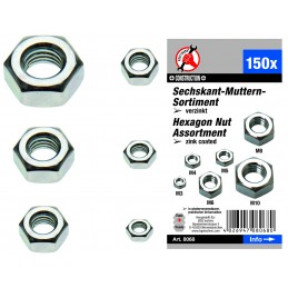 Surtido 150 tuercas hexagonales zincadas DIN 934 BGS-8068