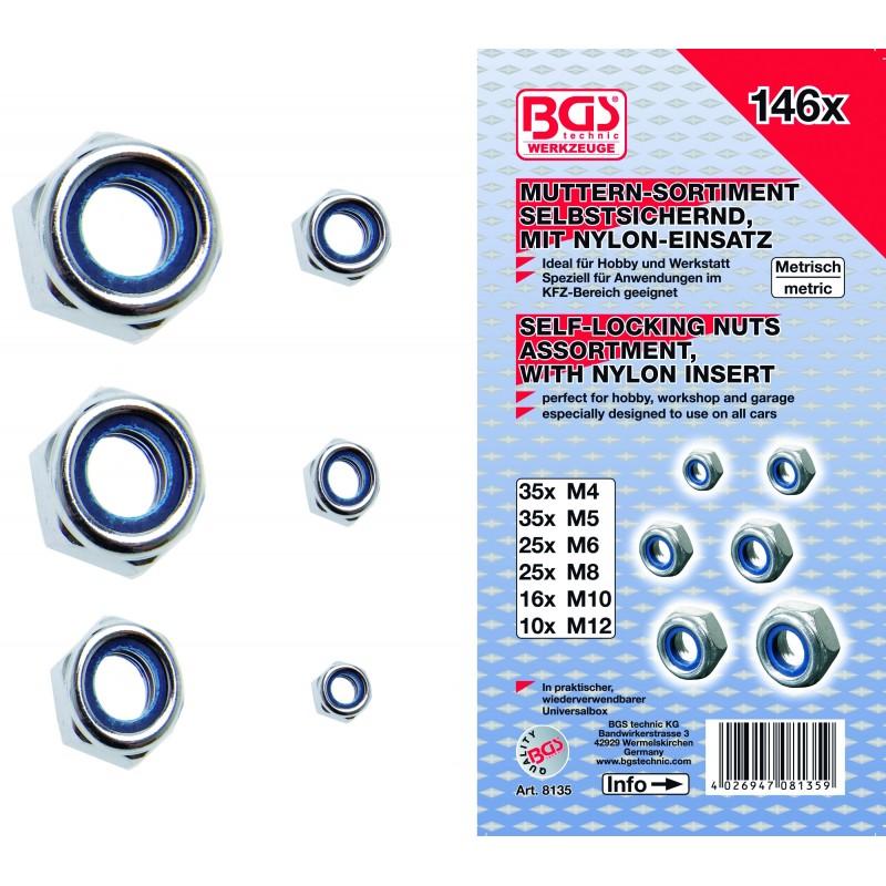 Surtido 146 piezas de tuercas hexagonales autoblocantes BGS-8135