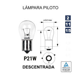 Lámpara 1 Polo P-21 12V 21W Descentrada (BAU15s)
