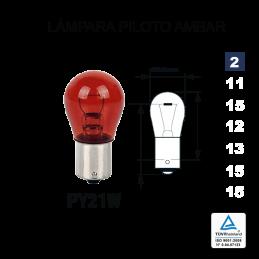 Lámpara 1 Polo PY21 12V 21W AMBAR (BA15s)