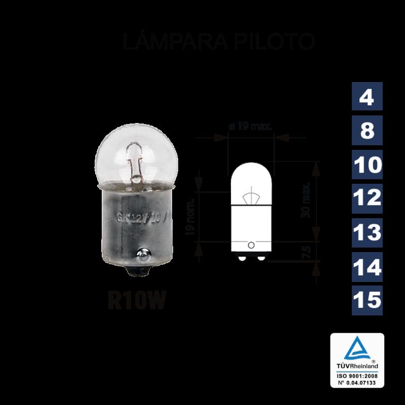 Lámpara Piloto R10W 12V 10W (BA15s scc)