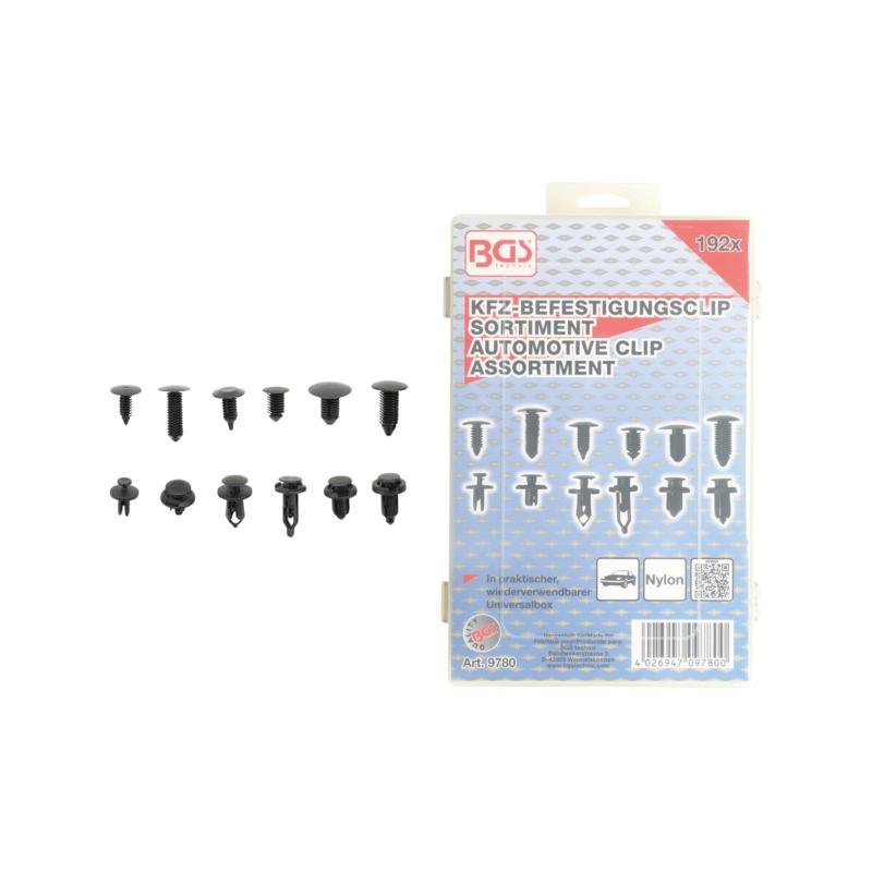 Surtido clips tipo abeto y de expansión de plástico universal 192 piezas